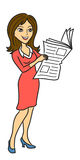 Woman read newspaper Royalty Free Stock Photos
