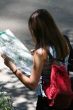 Woman Reading A Map Stock Photography
