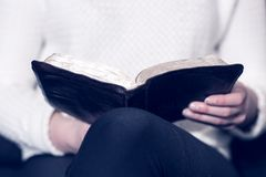 Woman reading the Bible Royalty Free Stock Photos