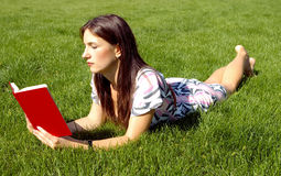 Woman reading book. Young women with red book on the green grass Stock Photo