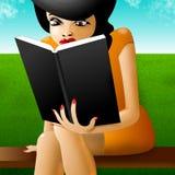 Woman reading book. Pretty woman reading interesting book stock illustration