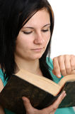 woman is reading in a book Stock Photos