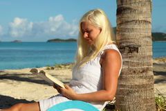 Woman reading book on the beach. Picture of woman reading book on the beach Royalty Free Stock Photo