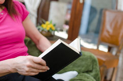 Woman reading a book on a couch Royalty Free Stock Image