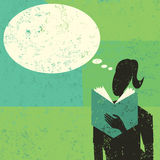Woman reading a book. A woman reading a book with an empty thought bubble above her head. The woman and background are on separate labeled layers Royalty Free Stock Images