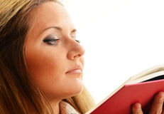 Woman reading a book. Female student learning Royalty Free Stock Photography