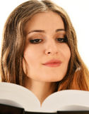 Woman reading a book. Female student learning Stock Image
