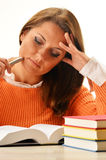 Woman reading a book. Female student learning Stock Photo
