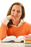 Woman reading a book. Female student learning Royalty Free Stock Photos