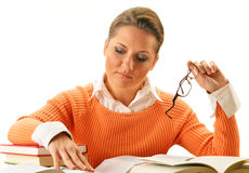 Woman reading a book. Female student learning Royalty Free Stock Photo