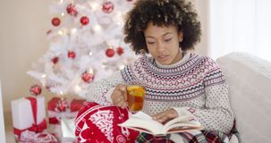 Woman reading a book in front of Christmas tree stock video footage