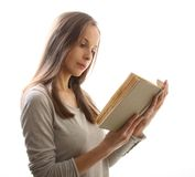 Woman reading a book, isolated Stock Photo