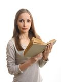 Woman reading a book, isolated Royalty Free Stock Photo