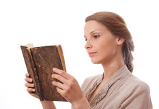 Woman reading a book, isolated royalty free stock photos