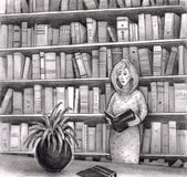 Woman reading book in library. A woman reads a book in the library while standing up. Behind her are many more books on book shelves Stock Illustration