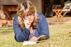 Woman Reading Book Lifestyle Stock Photography