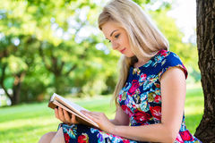 Woman reading book on meadow in park Stock Photography
