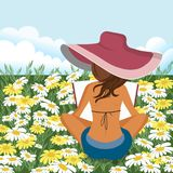 Woman reading book outdoors. Woman relaxing on field. Summer and spring background. Flat vector illustration royalty free illustration