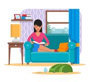 Woman reading book on sofa while vacuum cleaner domestic robot clean a room. Robotics technology concept vector. Illustration Royalty Free Stock Photo