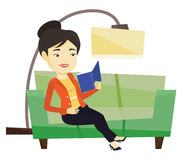 Woman reading book on sofa vector illustration. royalty free illustration