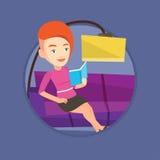 Woman reading book on sofa vector illustration. Stock Photos