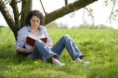 Woman reading a book under a tree Royalty Free Stock Photography