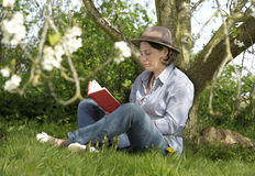 Woman reading a book under a tree Royalty Free Stock Photos