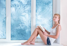 Woman reading book in warm room. Woman reading a book in warm room meanwhile cold winter behind her window Stock Photography