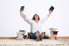 Woman reading books Royalty Free Stock Photo