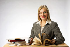 Woman reading books. stock image