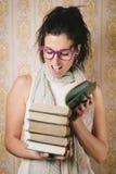 Woman reading books Royalty Free Stock Photos
