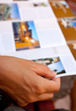 Woman reading a brochure royalty free stock photography