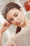 Woman reading business newspaper stock photography