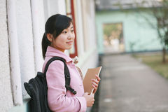 Woman reading in college Royalty Free Stock Image