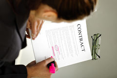 Woman reading contract Stock Photography