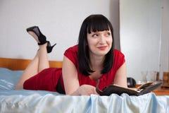 Woman reading  diary Stock Photo