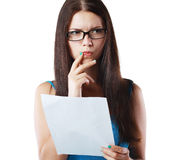 Woman reading document Stock Photo
