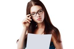 Woman reading document Royalty Free Stock Image