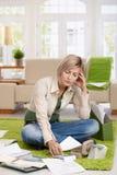 Woman reading documents Stock Photo