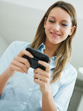 Woman reading emails stock photography