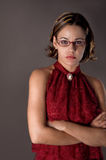 Woman with reading glasses Stock Photo