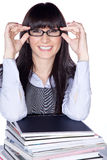 Woman with reading glasses and folder Royalty Free Stock Photo