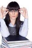 Woman with reading glasses and folder Stock Photos