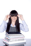 Woman with reading glasses and folder Stock Photography