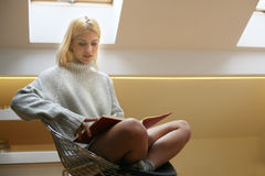 Woman reading her diary. royalty free stock photo