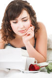 Woman reading letter Royalty Free Stock Photos