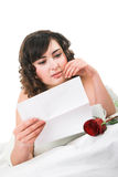Woman reading letter Royalty Free Stock Photo