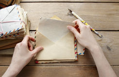 Woman reading letter from the past. Retro decoration Royalty Free Stock Image