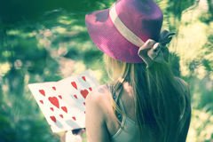Woman reading love book in the nature Royalty Free Stock Photos