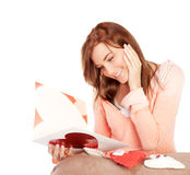 Woman reading love letter Royalty Free Stock Photos